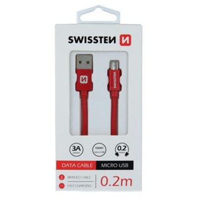 DATA CABLE SWISSTEN TEXTILE USB / MICRO USB 0.2 M RED