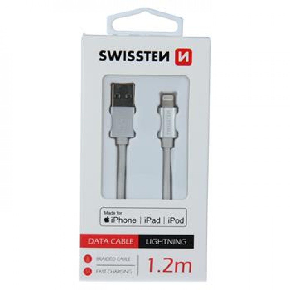 DATA CABLE SWISSTEN TEXTILE USB / LIGHTNING MFi 1.2 M SILVER