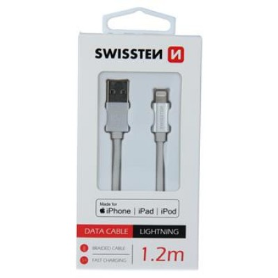 DATA CABLE SWISSTEN TEXTILE USB / LIGHTNING MFi 1.2 M SILVER