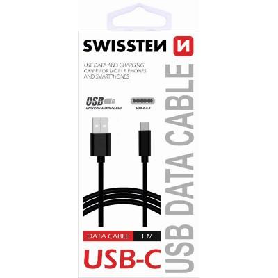 DATA CABLE SWISSTEN USB / USB-C 3.1 BLACK 1.2 M