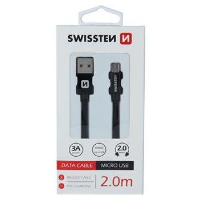 DATA CABLE SWISSTEN TEXTILE USB / MICRO USB 2.0 M BLACK