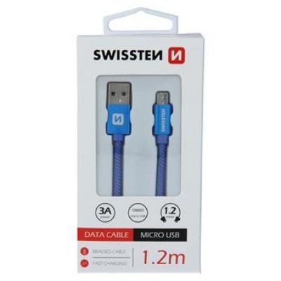 DATA CABLE SWISSTEN TEXTILE USB / MICRO USB 1.2 M BLUE
