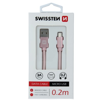 DATA CABLE SWISSTEN TEXTILE USB / MICRO USB 0.2 M ROSE/GOLD