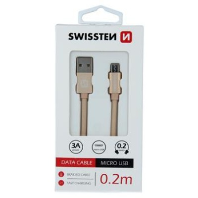 DATA CABLE SWISSTEN TEXTILE USB / MICRO USB 0.2 M GOLD
