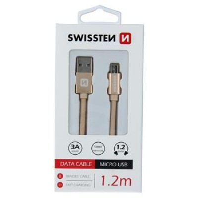 DATA CABLE SWISSTEN TEXTILE USB / MICRO USB 1.2 M GOLD