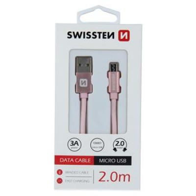 DATA CABLE SWISSTEN TEXTILE USB / MICRO USB 2.0 M ROSE/GOLD