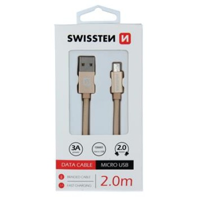 DATA CABLE SWISSTEN TEXTILE USB / MICRO USB 2.0 M GOLD