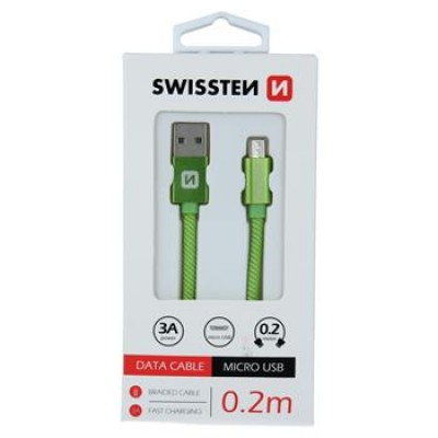 DATA CABLE SWISSTEN TEXTILE USB / MICRO USB 0.2 M GREEN