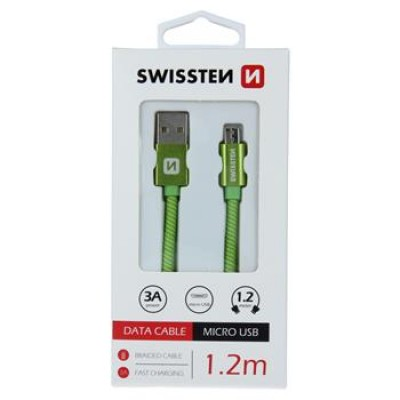 DATA CABLE SWISSTEN TEXTILE USB / MICRO USB 1.2 M GREEN