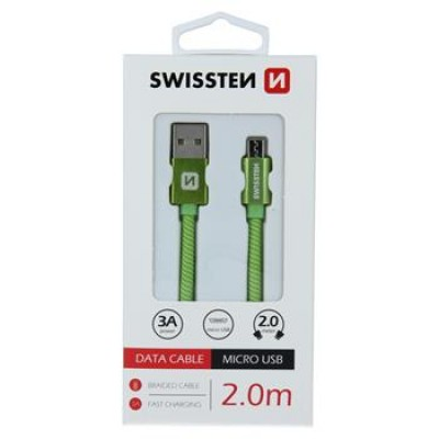 DATA CABLE SWISSTEN TEXTILE USB / MICRO USB 2.0 M GREEN