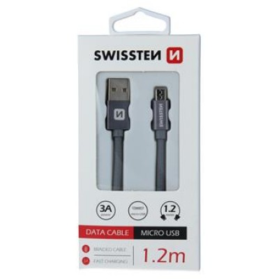 DATA CABLE SWISSTEN TEXTILE USB / MICRO USB 1.2 M GREY