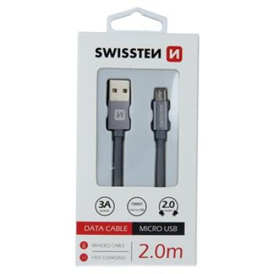 DATA CABLE SWISSTEN TEXTILE USB / MICRO USB 2.0 M GREY