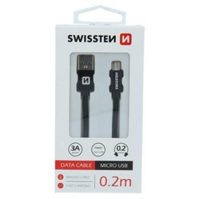 DATA CABLE SWISSTEN TEXTILE USB / MICRO USB 0.2 M BLACK
