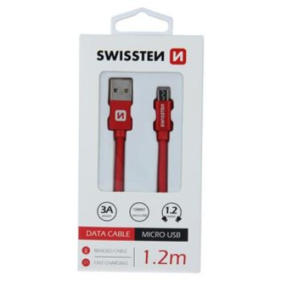 DATA CABLE SWISSTEN TEXTILE USB / MICRO USB 1.2 M RED