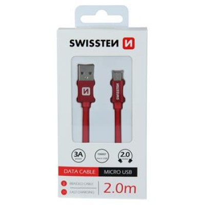 DATA CABLE SWISSTEN TEXTILE USB / MICRO USB 2.0 M RED