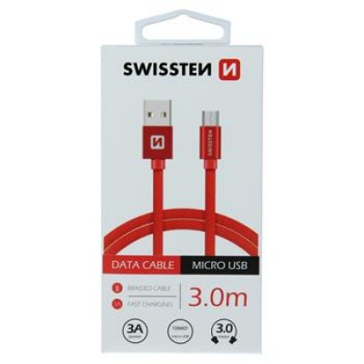 DATA CABLE SWISSTEN TEXTILE USB / MICRO USB 3.0 M RED