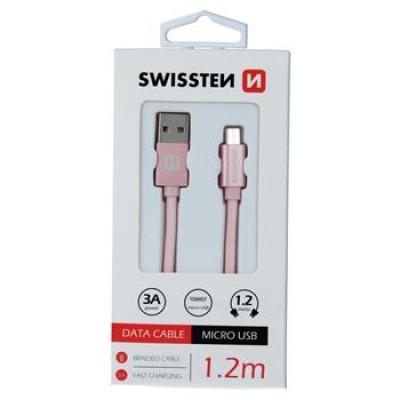 DATA CABLE SWISSTEN TEXTILE USB / MICRO USB 1.2 M ROSE/GOLD