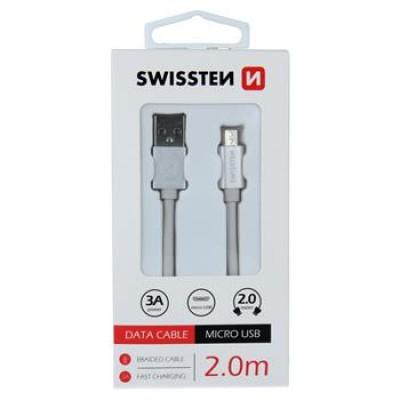 DATA CABLE SWISSTEN TEXTILE USB / MICRO USB 2.0 M SILVER