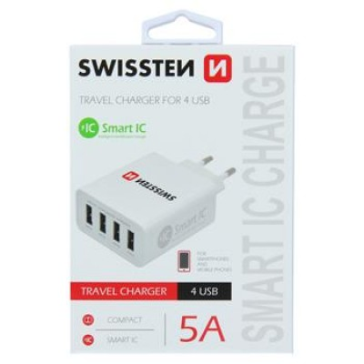 5 x SWISSTEN TRAVEL CHARGER SMART IC WITH 4x USB 5A POWER WHITE