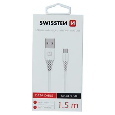 DATA CABLE SWISSTEN USB / MICRO USB 1,5 M WHITE (6,5mm)