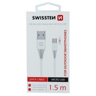 DATA CABLE SWISSTEN USB / MICRO USB 1,5 M WHITE (9mm)