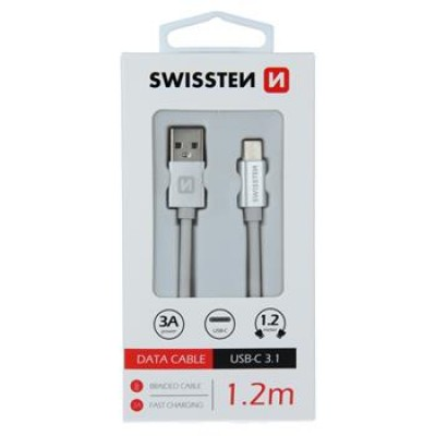 DATA CABLE SWISSTEN TEXTILE USB / USB-C 1.2 M SILVER