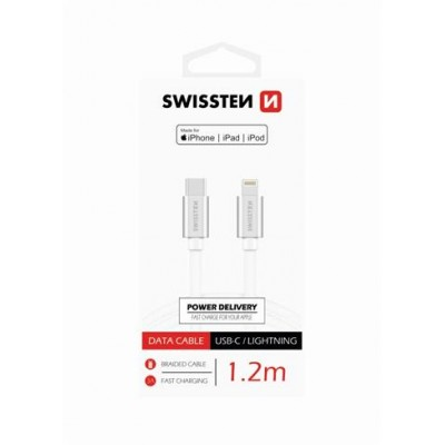DATA CABLE SWISSTEN TEXTILE USB-C / LIGHTNING MFi 1.2 M SILVER