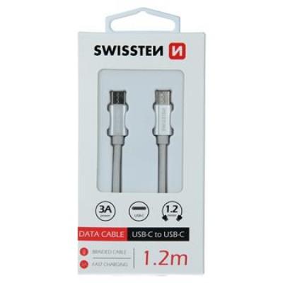 DATA CABLE SWISSTEN TEXTILE USB-C / USB-C 1.2 M SILVER