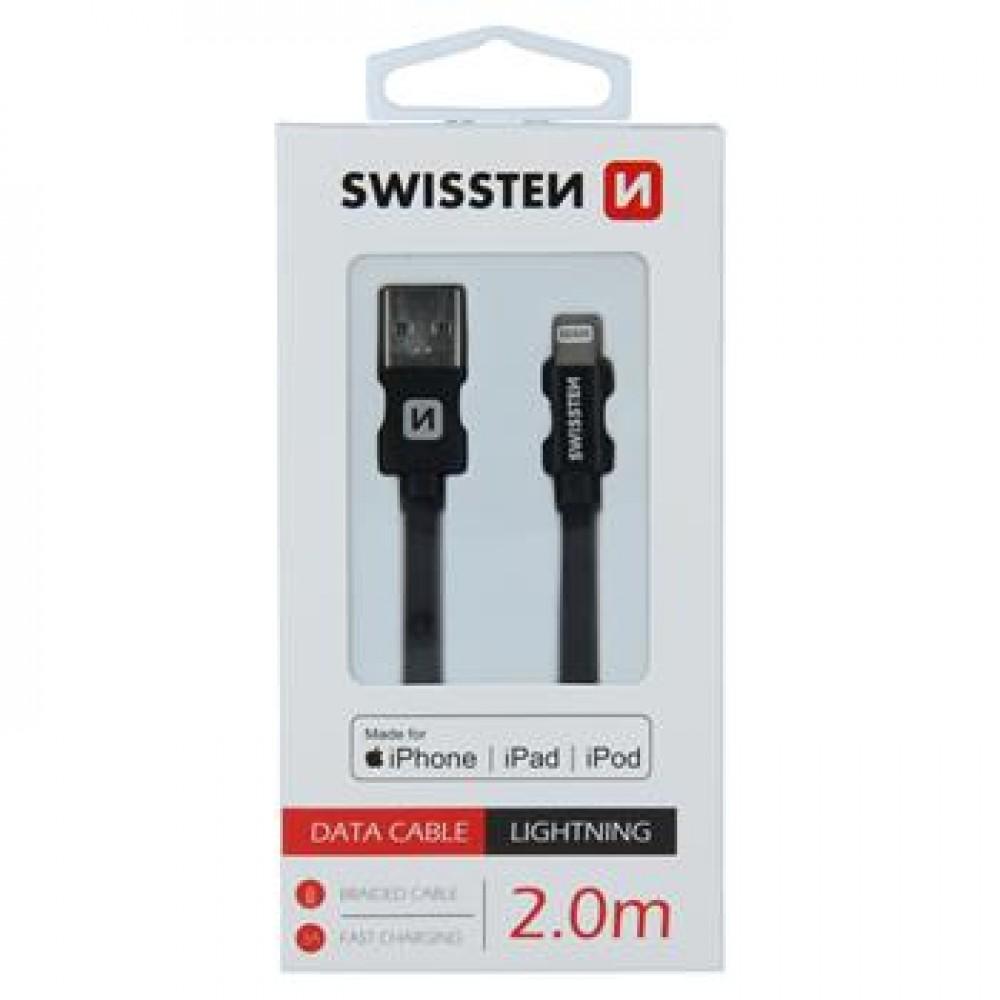 DATA CABLE SWISSTEN TEXTILE USB / LIGHTNING MFi 2.0 M BLACK